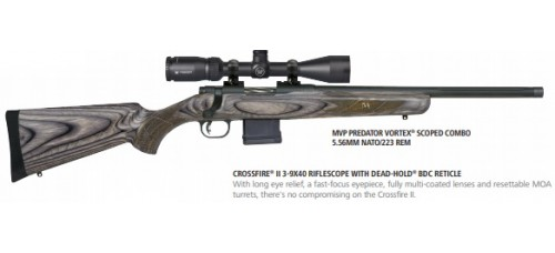 "Mossberg MVP Predator Combo w/Vortex Scope 5.56mm 18.5"" Fluted Barrel Bolt Action Rifle"